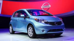 The 2014 Versa Note on display in Detroit. (Jeffrey Jablansky)