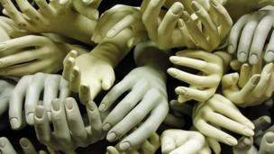 Piles of artificial hands (Thinkstock)