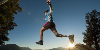 Man jumping with prosthetic leg (Thinkstock)