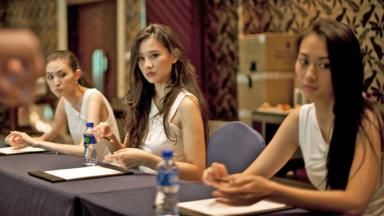 Miss China 2014 contestants learn etiquette from a Seatton instructor. (Darcy Holdorf) (Credit: Darcy Holdorf)