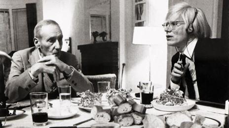 William S Burroughs and Andy Warhol at New York's Chelsea Hotel in 1980.