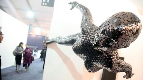 A statue by Akash Choyal at the 2013 India Art Fair. (EPA/Anindito Mukherjee/Corbis)