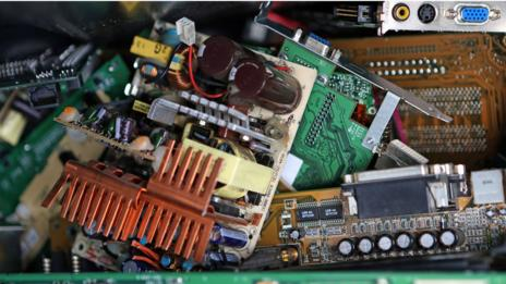 Discarded circuit boards at a recycling facility in Germany. (AP/Christian Charisius)