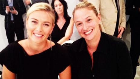 Merideth Gilmor (right) with her client, tennis star Maria Sharapova.(Caitlin Shockley)