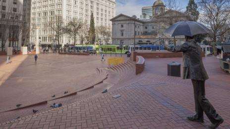 A rare quiet moment in Pioneer Square