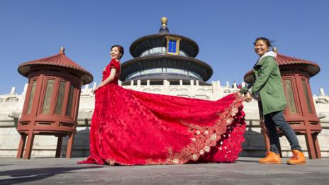 Brides in China traditionally wear red. (Corbis)