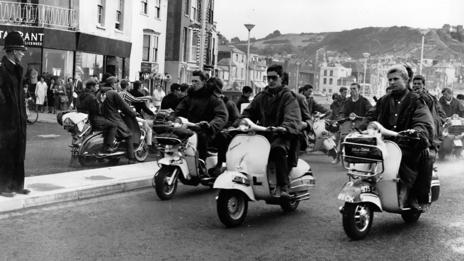 Mods at Hastings with their scooters.