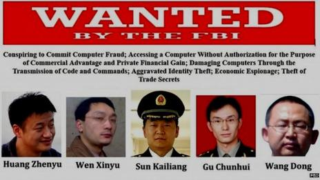 READ: The US has charged five Chinese army officers with hacking into American companies.