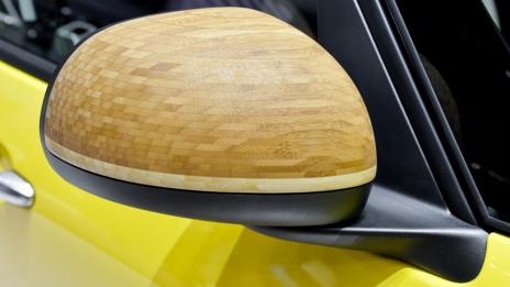 The 2014 Fiat 500L Trekking 'Street Surf' show car used bamboo mirror caps.