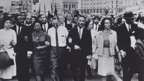 Rosa Parks, Dr King lead marchers into Montgomery, 1965 (Johnson Publishing Company)