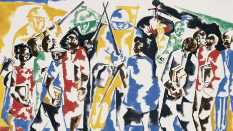 Soldiers and Students, 1962, Jacob Lawrence (The Jacob and Gwendolyn Lawrence Foundation)