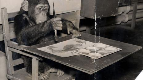 Congo the chimpanzee at London Zoo in 1957 (Daily Mail /REX)