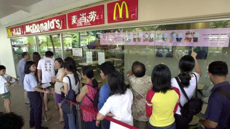 People in Singapore line up for a Hello Kitty promotion at a McDonald's restaurant