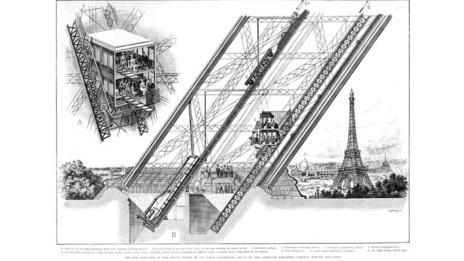The Eiffel Tower's lifts (Oxford Science Archive/Print Collector/Getty Images)