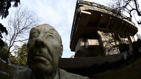 A statue of Borges stands outside the National Library of Argentina (Corbis)