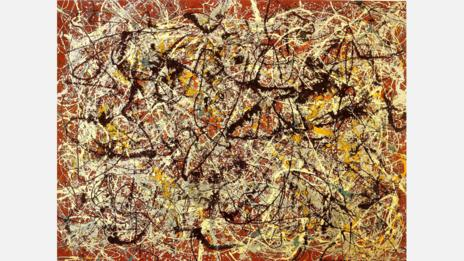 Jackson Pollock, Mural on Red Indian Ground, 1950 (Wikimedia Commons)