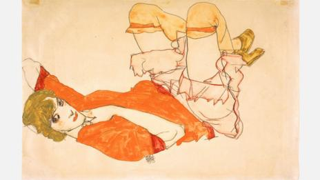 Egon Schiele, 1913. Wally in Red Blouse with Raised Knees