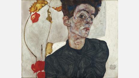 Egon Schiele, 1912. Self-portrait with Physalis
