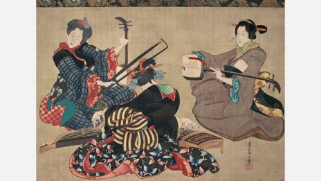 Hokusai's Three Women Playing Instruments is a hanging scroll, executed with ink on silk