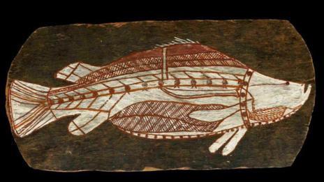 Aboriginal bark painting at the British Museum