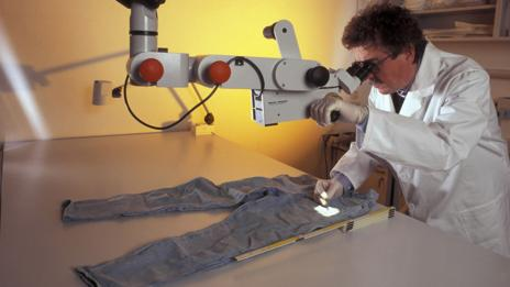DNA testing evidence on a pair of trousers
