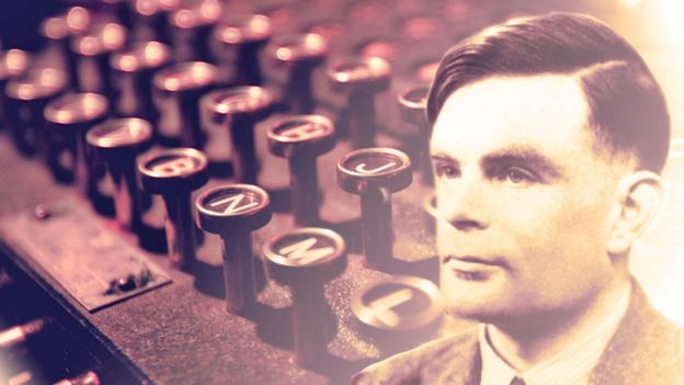 Alan Turing and an Enigma machine