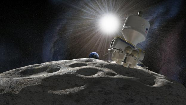 Artist's impression of a mission to an asteroid (Copyright: SPL)