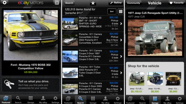 The eBay Motors search app (Images courtesy eBay)