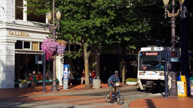 Portland's MAX light rail on Morrison Street (Credit: Richard Cummins/LPI/Getty)