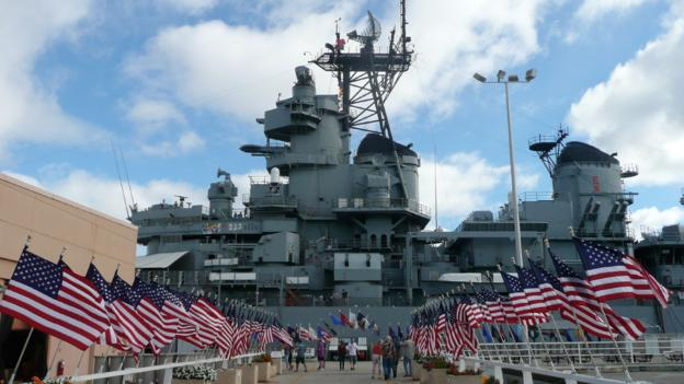 The USS Missouri at Pearl Harbor (Credit: Simon and Susan Veness)
