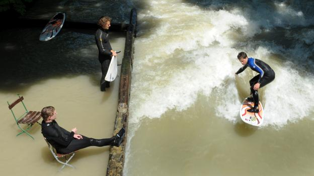 Eisbach river surfing (Credit: Christof Stache/AFP/Getty)