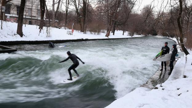 Eisbach river surfing (Credit: Dominik Bindl/Bongarts/Getty)