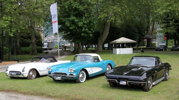 A clutch of Corvettes at Villa Erba (Credit: Eric Gallina)