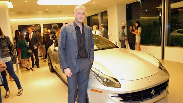 Sotti, with an FF at the Ferrari showroom in New York on 2 May. (Johnny Nunez/Getty)