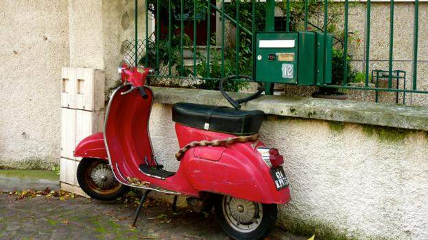 A scooter near Villa Paul Verlaine (Credit: Richelle Harrison Plesse)