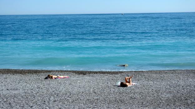 A beach in Bordighera (Credit: Katie Beck)