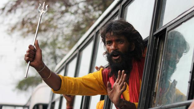A sadhu on the way to the Amarnath shrine (Credit: Strdel/AFP/Getty)
