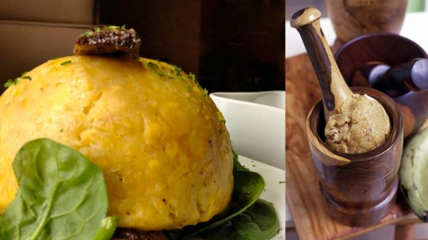 The making of mofongo (Credit: left: Caitlin Zaino, right: Evan Sklar/Getty)