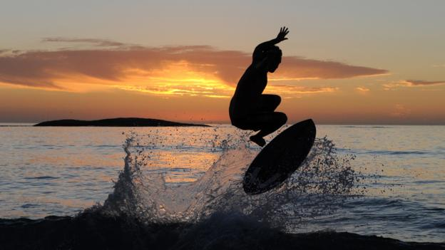 A wakeboarder at Camps Bay (Credit: Francois Xavier Marit/AFP/Getty)