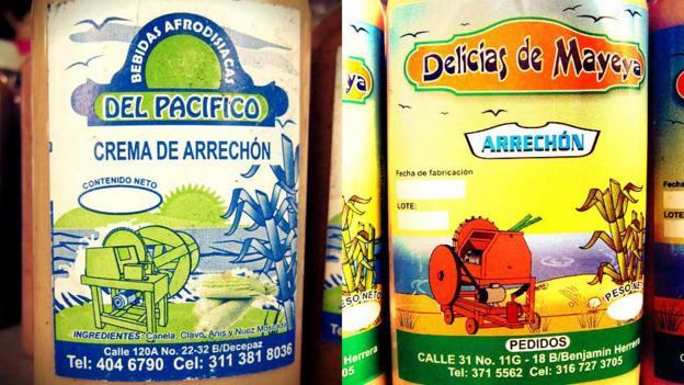 Bottles of arrechon (Credit: Petronio Alvarez Pacific Music Festival)