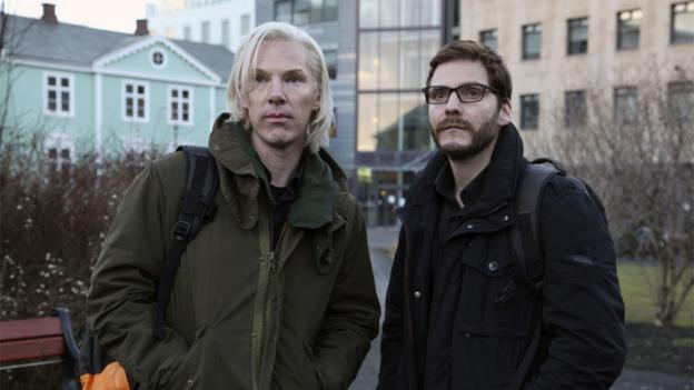Benedict Cumberbatch as Julian Assange and Daniel Bruehl as Daniel Domscheit-Berg
