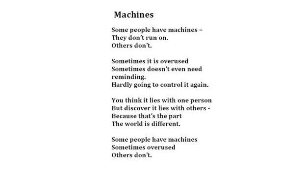 Machines, Eileen (Credit: Poem: Living Words, Photo: Julia Miranda/Living Words)