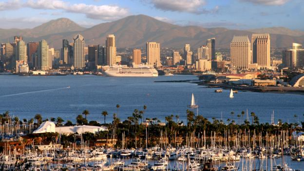 A view of downtown San Diego from Harbor Island (Credit: Joanne DiBona/SanDiego.org)