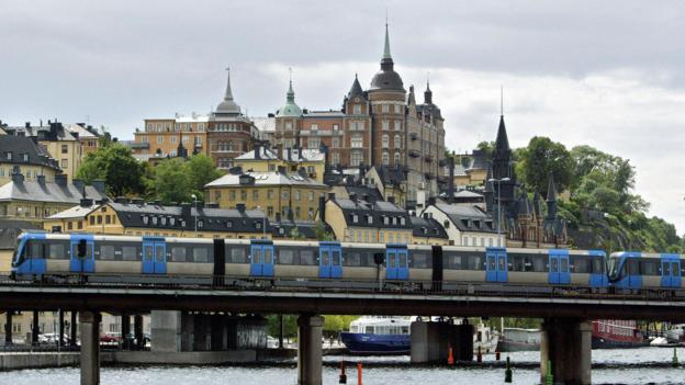 The T-bana train in Sodermalm (Credit: AFP/Getty)