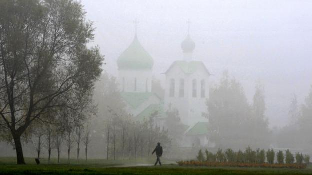 A foggy day in St Petersburg (Credit: Olga Maltseva/AFP/Getty)