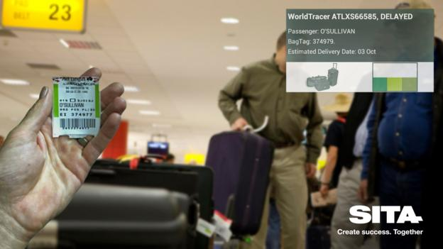 A rendering of how Google Glass might help find lost luggage (Credit: SITA)