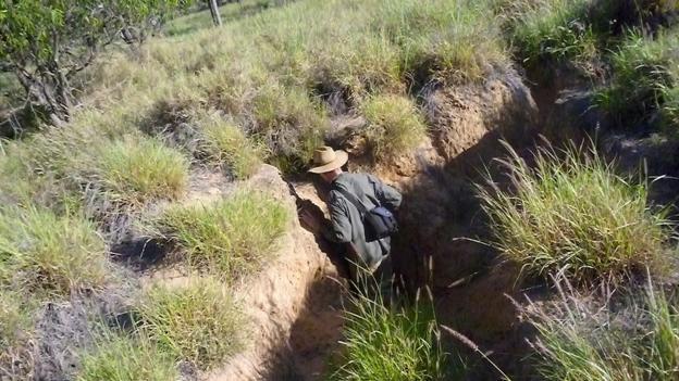 Searching for a wombat burrow (Credit: Georgina Kenyon)