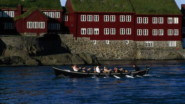 Grass-roofed government buildings in the capital Torshavn (Credit: Páll-Steffansson)