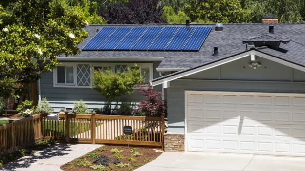 One house equipped with a solar panel