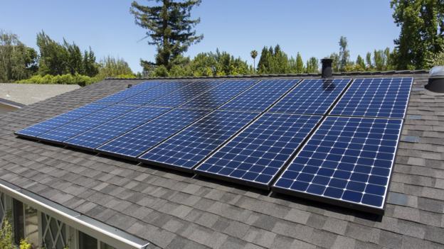 A close-up of a solar panel